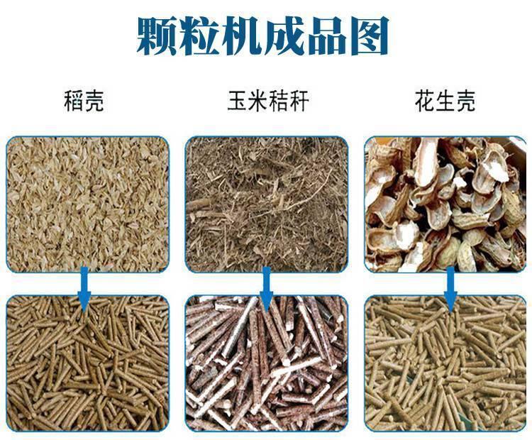 生物质颗粒机将农林废弃物,秸秆,锯末等原料通过机械物理压缩成型后用户民用和工业用取暖,烧锅炉,浴室、茶水房等